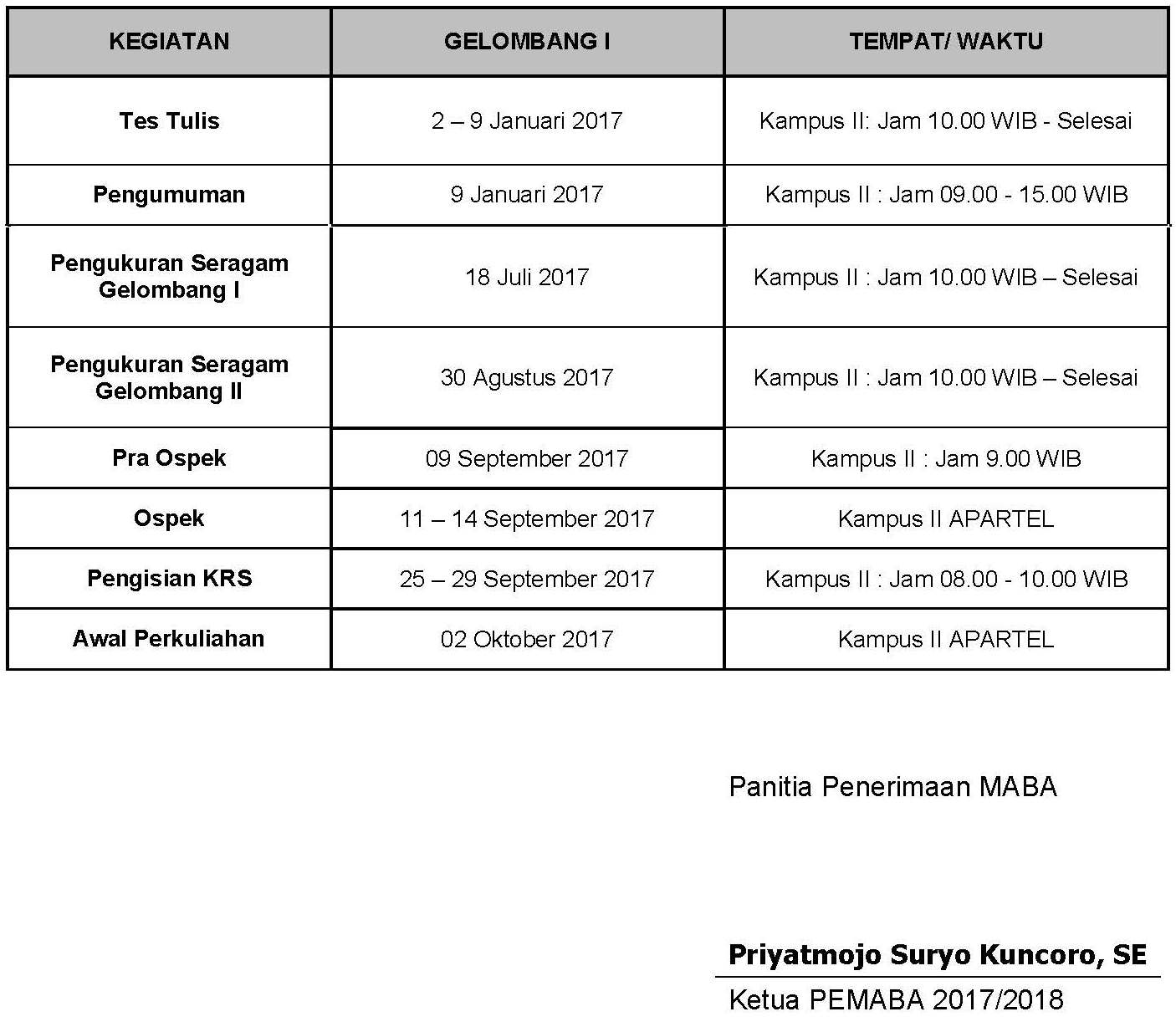 TIME SCHEDULE MABA 2017