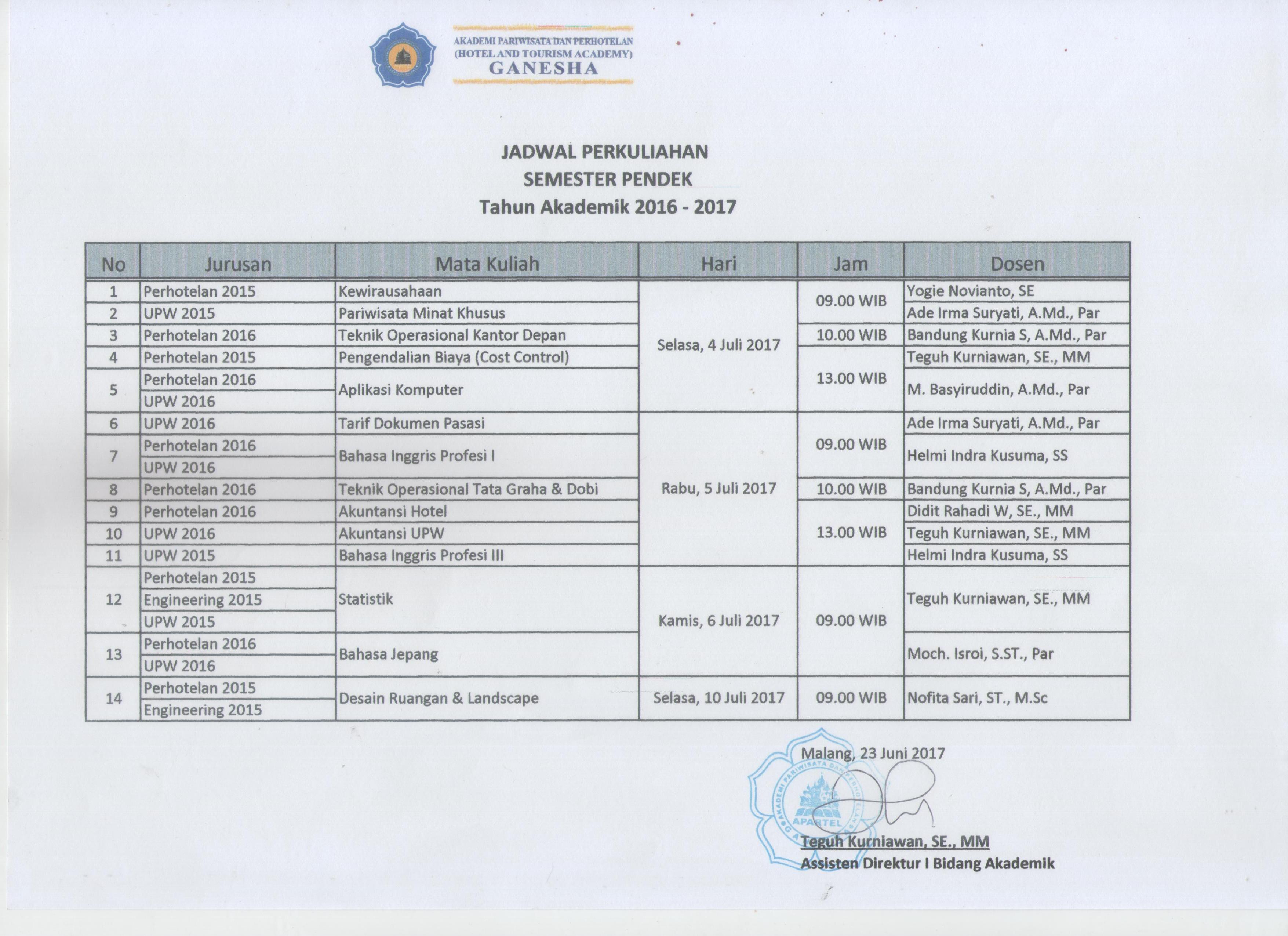 jadwal SP Bulan Juli 2017